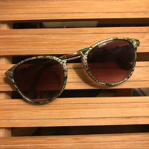 Green and gold floral sunglasses